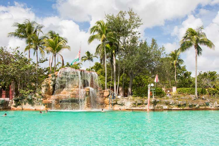 Coral Gables Venetian Pool. The Venetian Pool, built from a coral rock quarry in 1923, is spring-fed and is a hot-spot for locals and visitors alike during the hot summer months.
